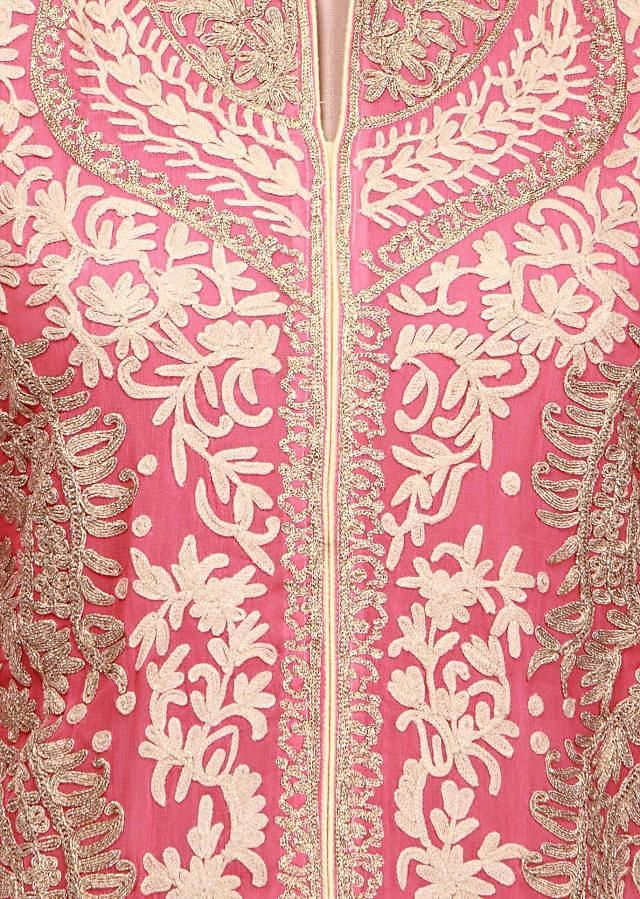 Pink semi stitched suit adorn in wool thread and zari embroidery only on Kalki