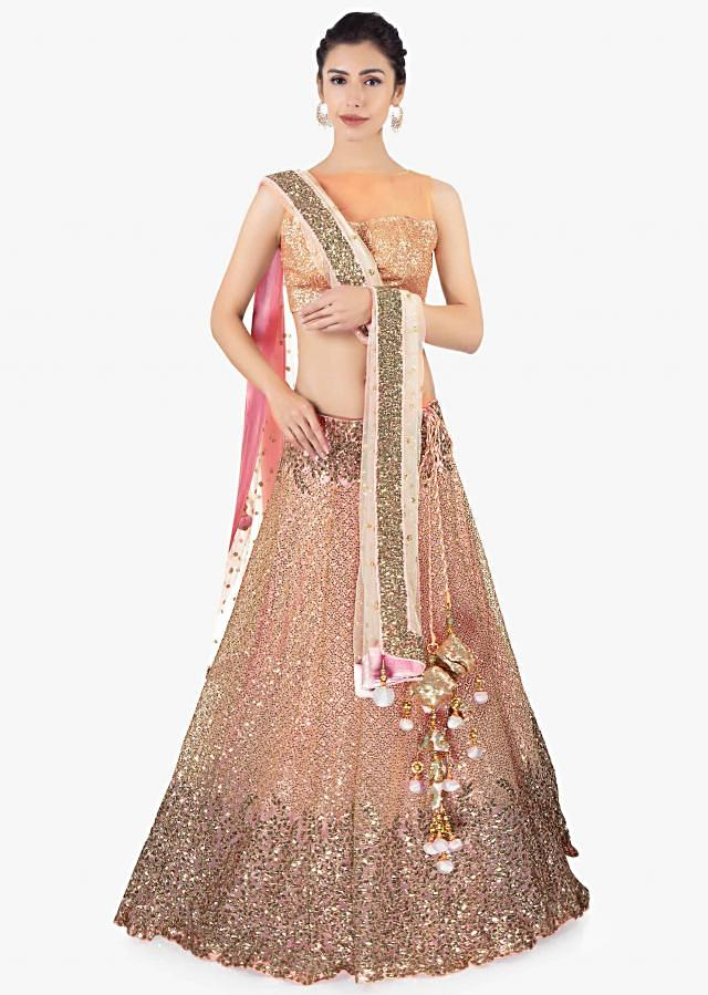 Pink Lehenga Set With Sequins Embroidery Paired With A Matching Net Dupatta Online - Kalki Fashion