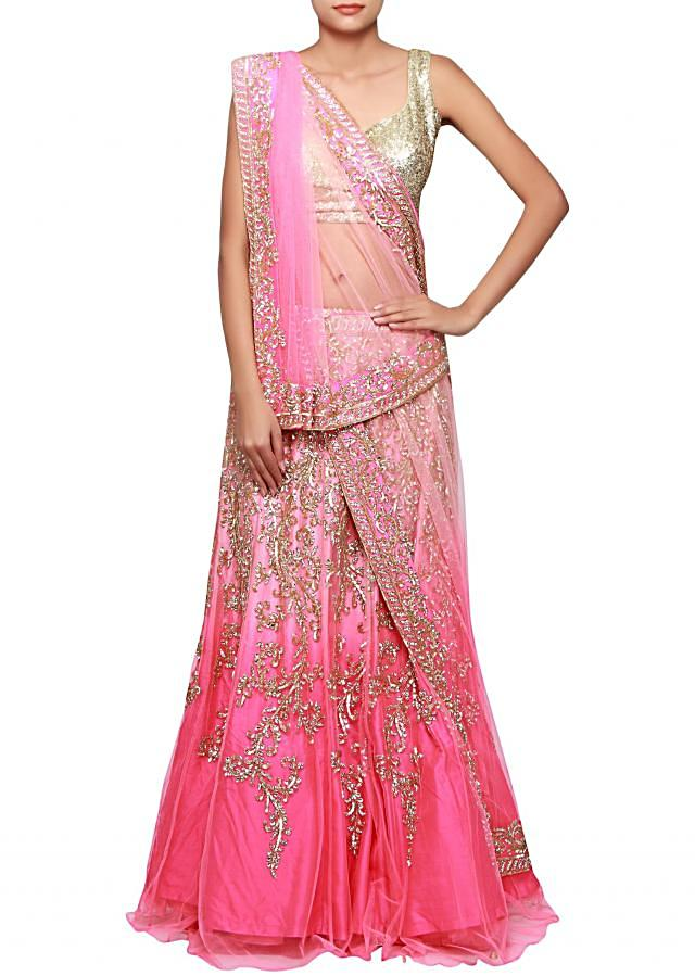Pink shaded lehenga adorn in sequin and kundan embroidery only on Kalki