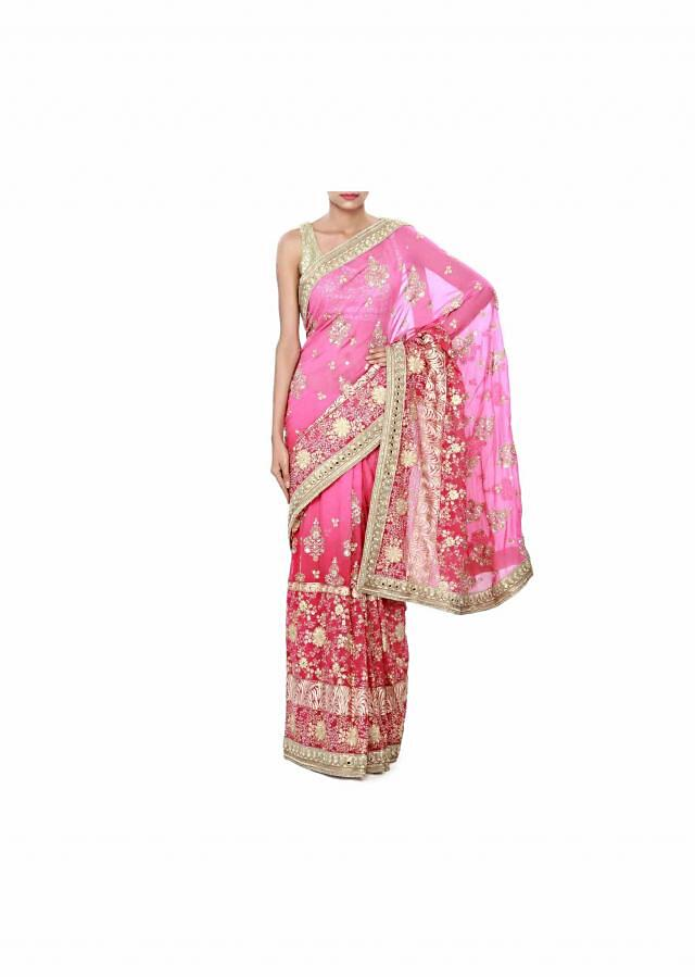 Pink shaded saree enhanced in resham and zari embroidery only on Kalki
