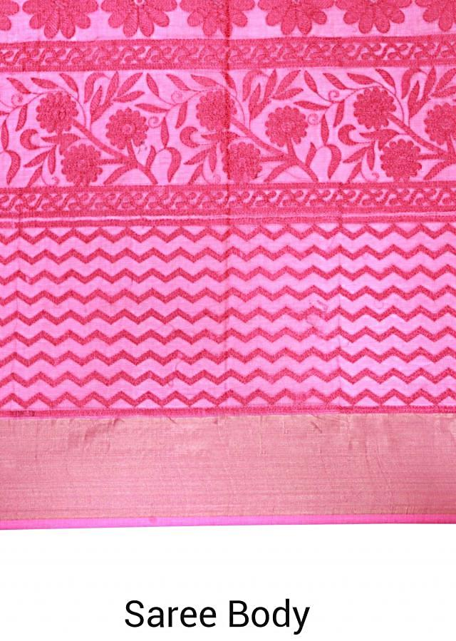 Pink shaded saree in chanderi silk only on Kalki