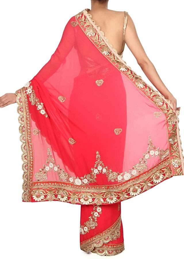 Pink shaded saree in pearl and kundan embroidery only on Kalki