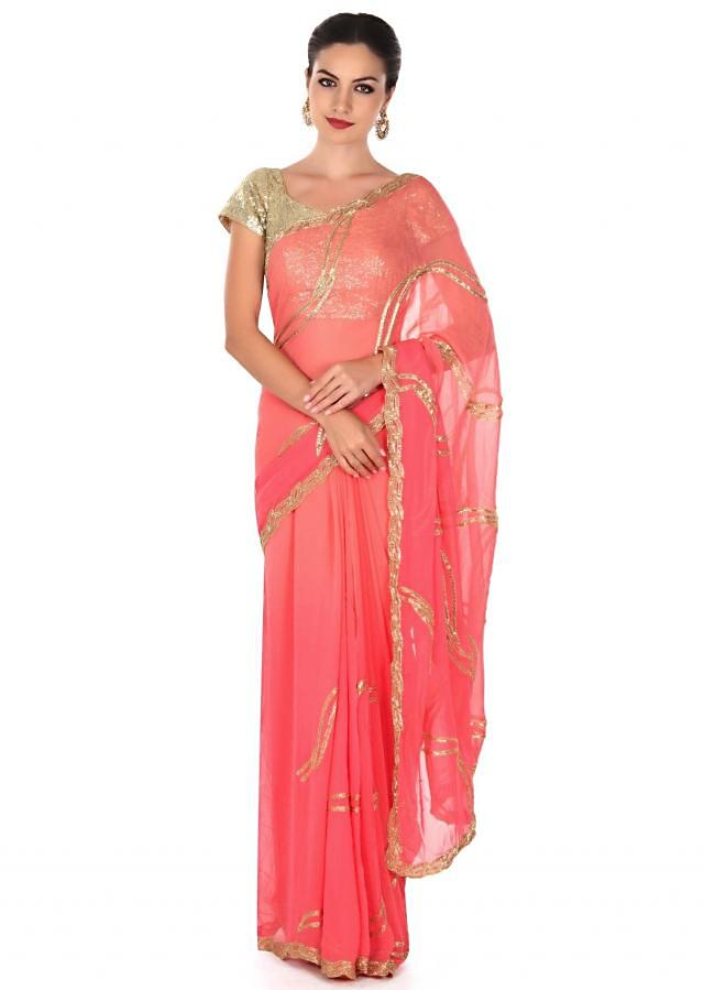 Pink shaded saree in zari and kardana only on Kalki