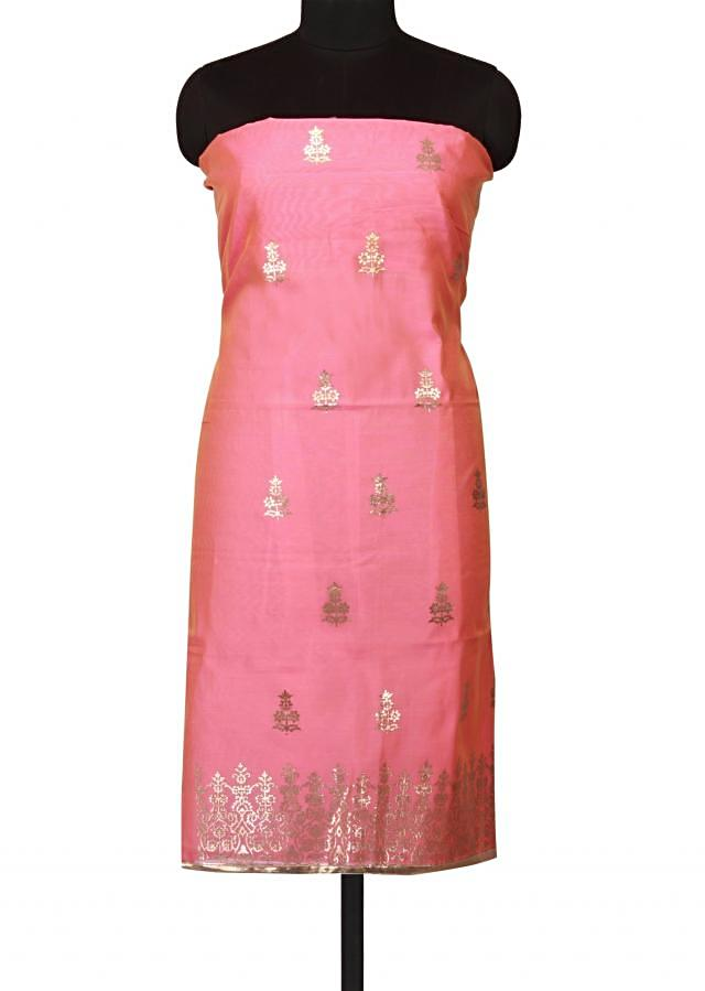 Pink shaded unstitched suit in gotta applique work only on Kalki
