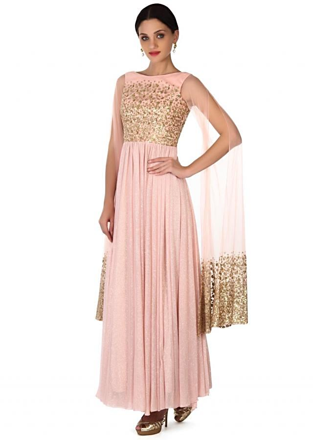 Pink shimmer gown with bat sleeve only on Kalki