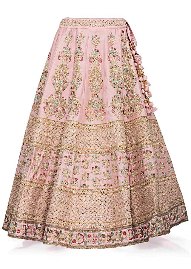 Pink Lehenga In Silk And Blouse Ensemble Crafted With Sequins, Zari And Resham Work Online - Kalki Fashion