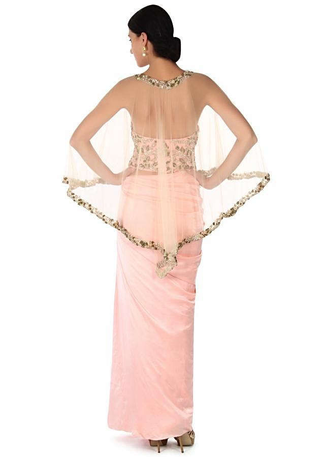 Pink skirt with corset blouse and embroidered cape only on Kalki