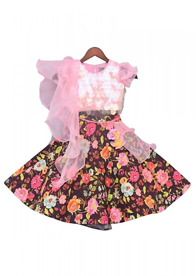Pink Choli With Soft Sequins And Printed Lehenga And Frilled Dupatta Online - Kalki Fashion
