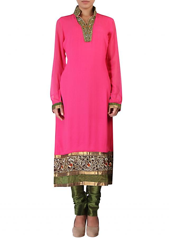 Pink straight fit suit adorn in zari and resham embroidery only on Kalki