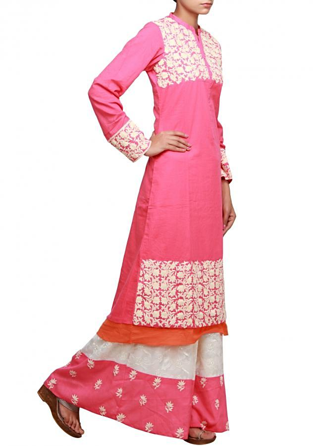Pink straight fit suit featuring with thread embroidery only on Kalki
