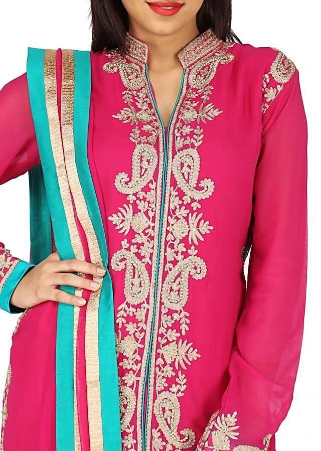 Pink straight fit suit with placket embroidered in paisely motif only on Kalki