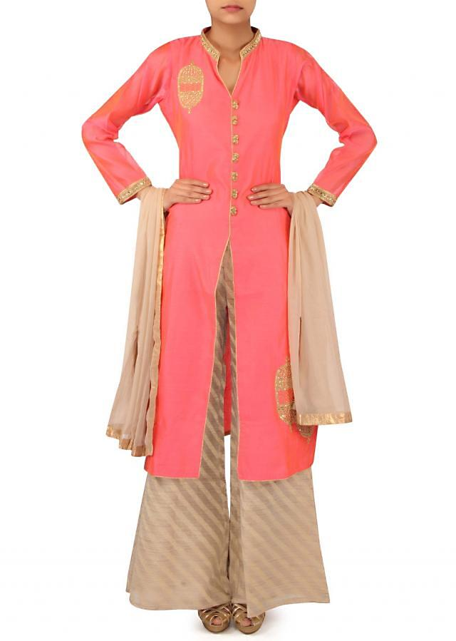 Pink straight palazzo suit adorn in zari embroidery only on Kalki