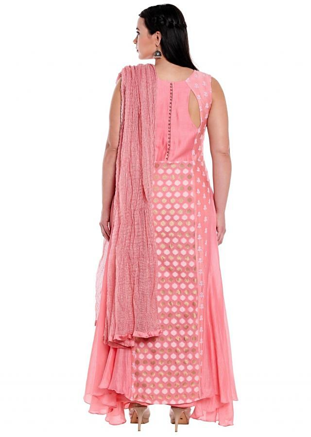 Pink straight princes line suit in weave and thread butti only on Kalki