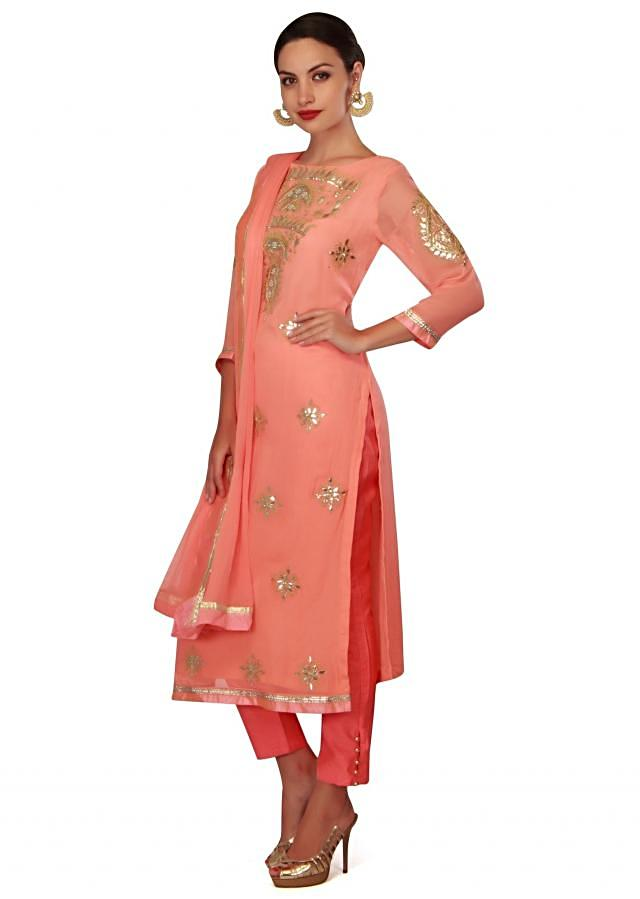 Pink straight suit adorn in gotta patch embroidery only on Kalki