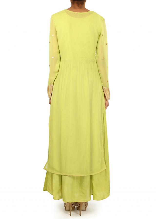 Green straight suit adorn in gotta patch only on Kalki