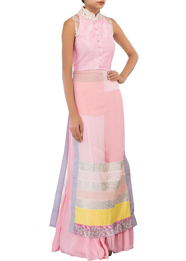 Pink straight suit adorn in zari and thread embroidery only on Kalki