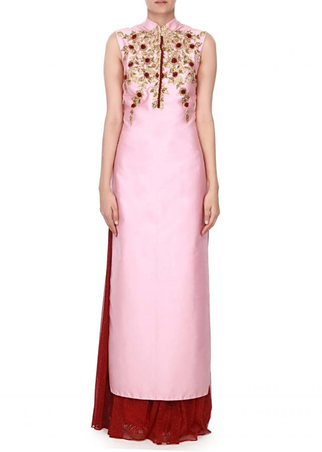 Pink straight suit in 3D flower embroidery only on Kalki