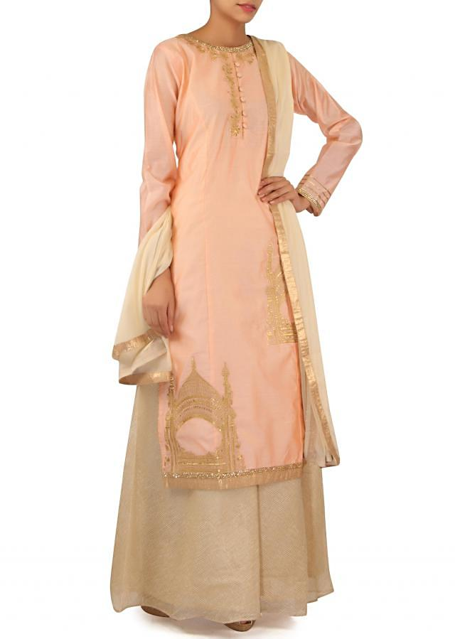 Pink straight suit in tomb motif embroidery only on Kalki