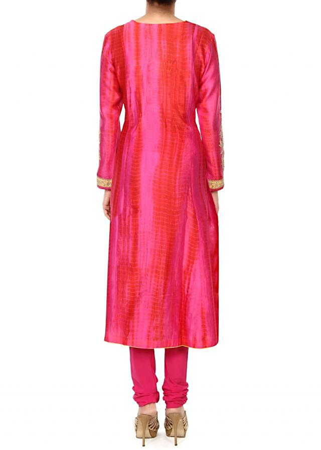 Pink straight suit in zari and bati print only on Kalki