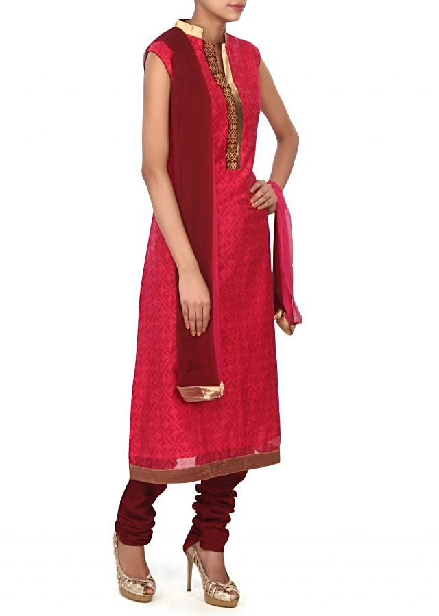 Pink straight suit highlighted in embellished placket only on Kalki