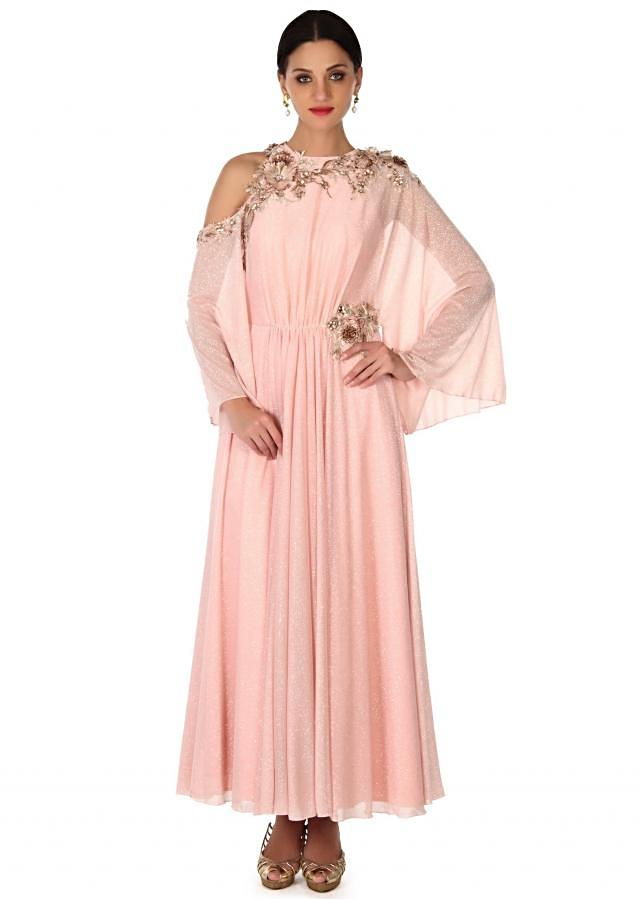 Pink suit adorn in fancy sleeve and zardosi only on Kalki
