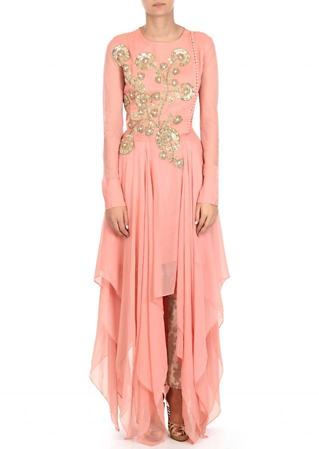 Pink suit adorn in french knot and sequin embroidery only on Kalki