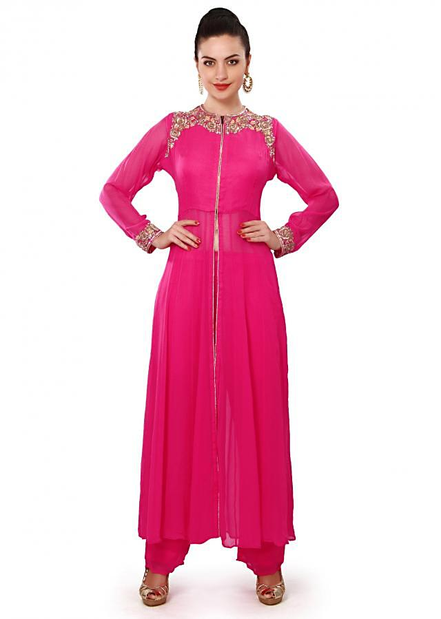 Pink suit adorn in resham and kardana embroidery only on Kalki