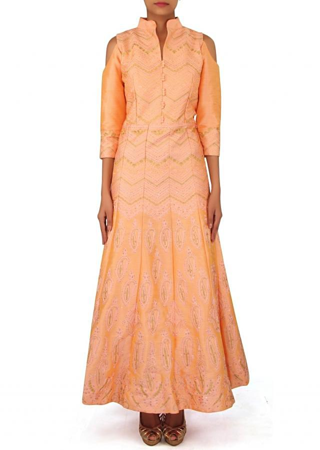Peach suit embellished in thread and kundan only on Kalki