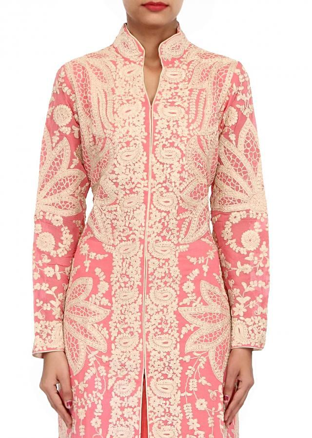 Pink suit embellished in thread embroidery only on Kalki