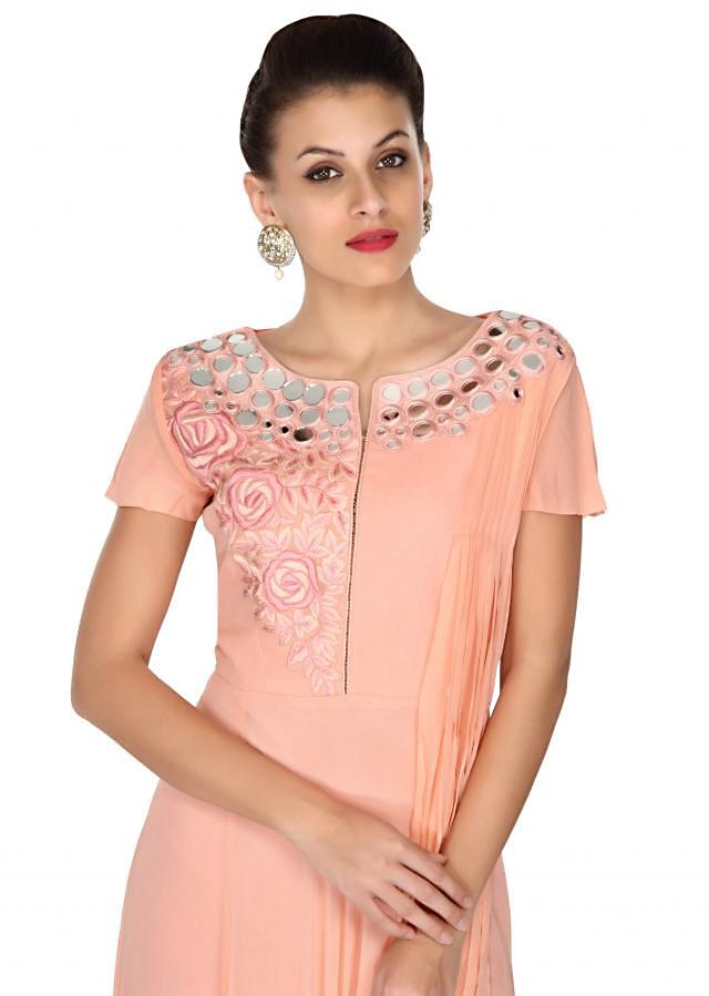 Pink suit featuring in mirror and fancy drape only on Kalki