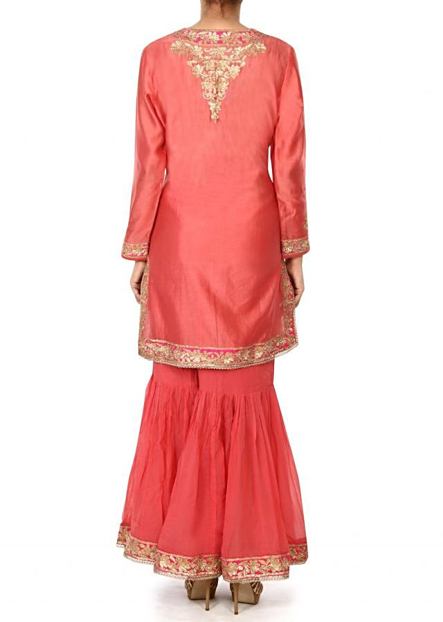 Pink suit in zari embroidery with gharara pant only on Kalki