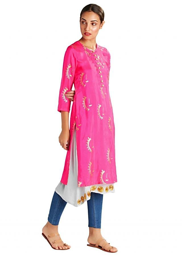 Pink Sun-sational kurta with Grey crepe slip by Masaba