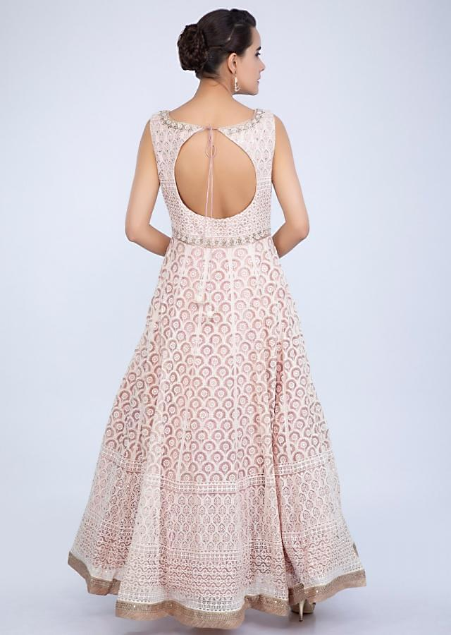 Pink Anarkali Suit In Thread Embroidered Net With Contrasting Golden Embroidered Border Online - Kalki Fashion
