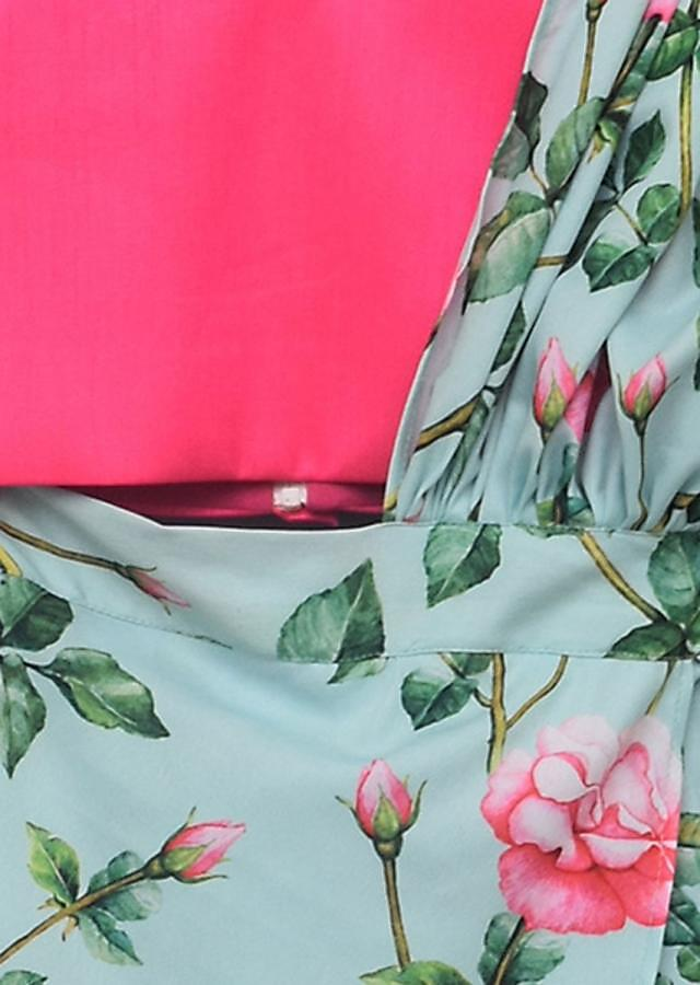 Pink Top And Printed Dhoti With Attached Dupatta Online - Kalki Fashion