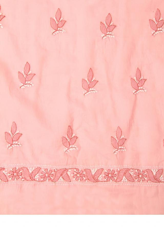 Pink unstitched cotton salwar kameez in Lucknowi only on Kalki