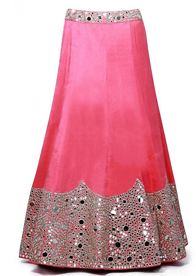 Pink unstitched lehenga embellished in mirror and zari embroidery only on Kalki