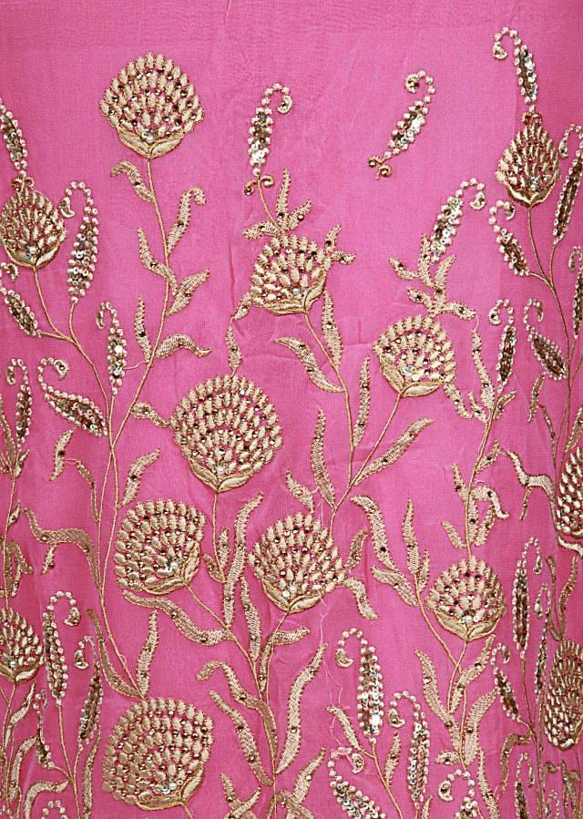 Pink unstitched suit adorn in resham and sequin embroidery only on Kalki