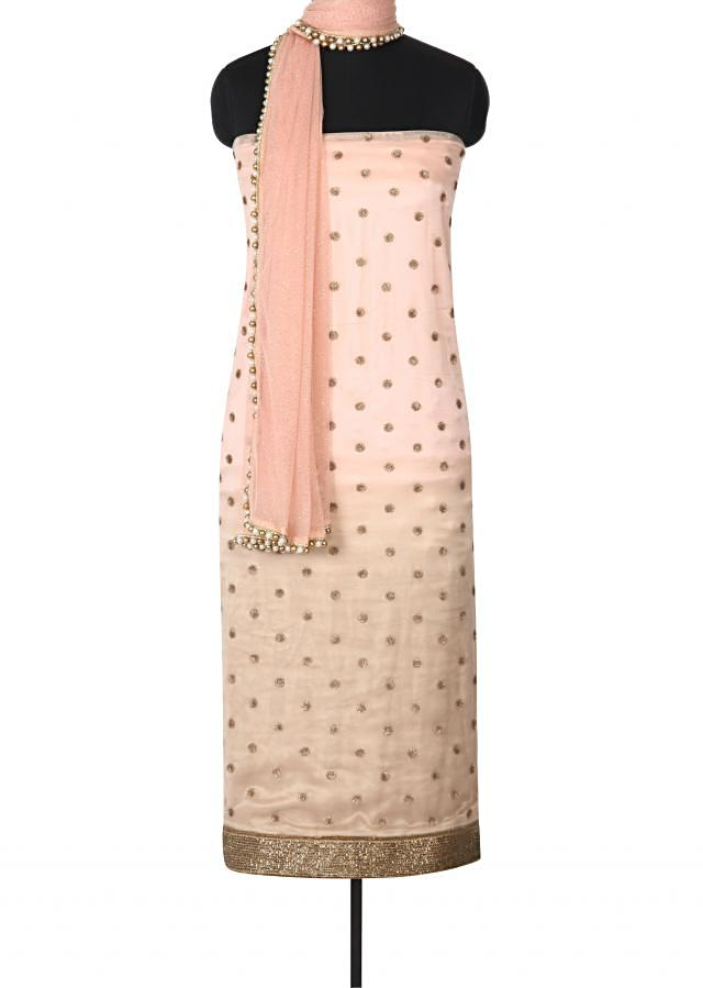 Pink unstitched suit adorn in sequin and kardana border only on Kalki