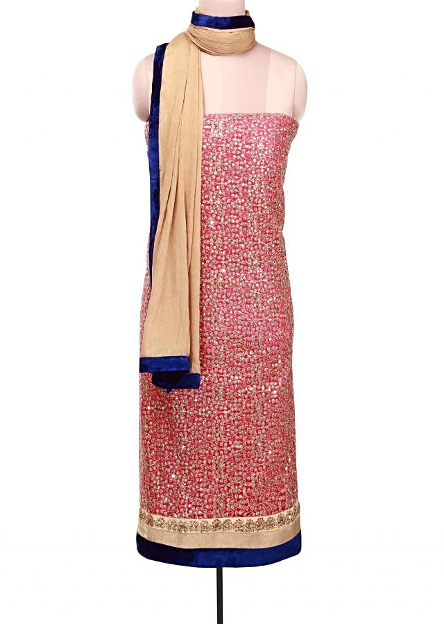 Pink unstitched suit adorn in sequin embroidery only on Kalki