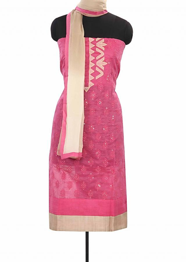 Pink unstitched suit adorn in thread and appluqie work only on Kalki