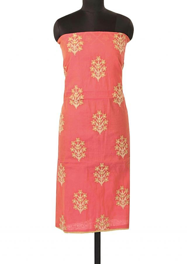 Unstitched pink suit in butti embroidery only on Kalki