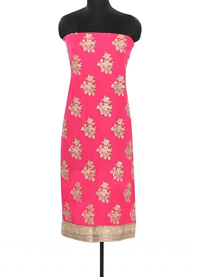 Pink unstitched suit embellished in zari embroidery only on Kalki