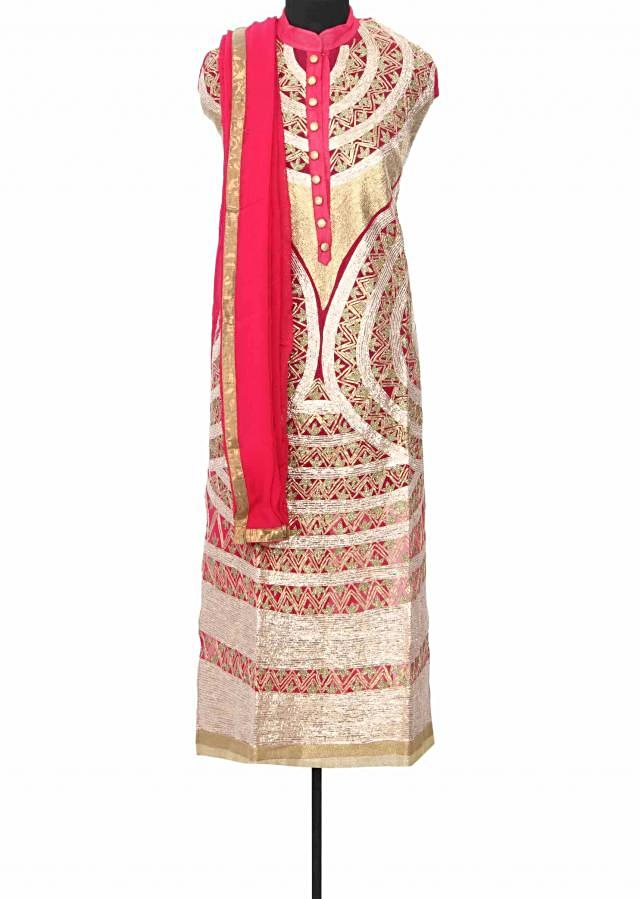 Pink unstitched suit enhanced in gotta patti embroidery only on Kalki