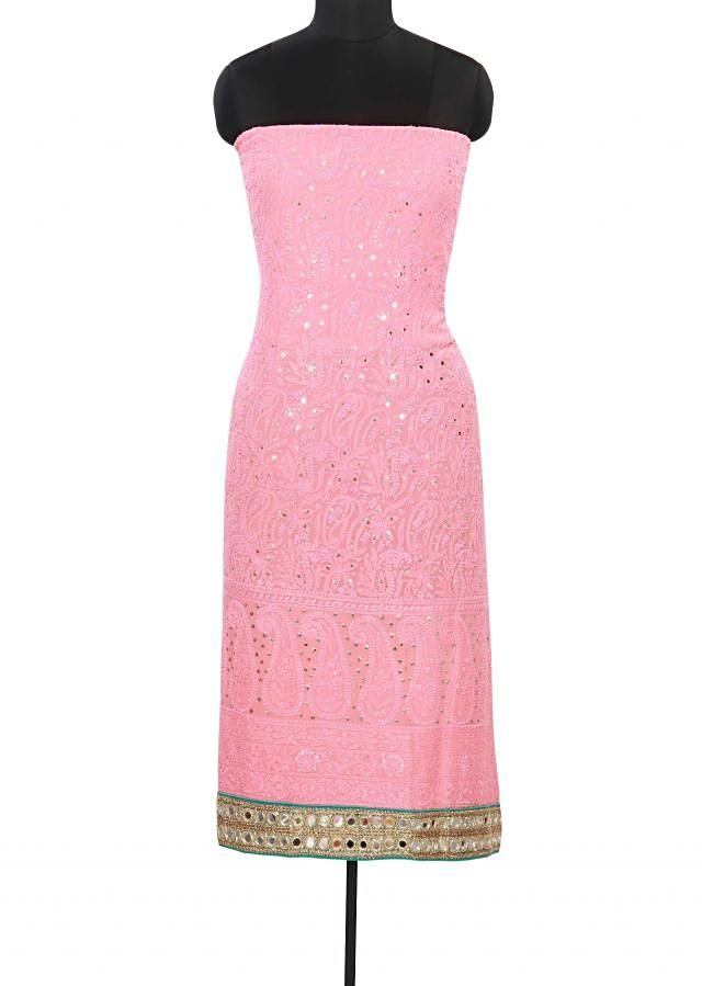 Pink unstitched suit enhanced in lucknowi thread work only on Kalki