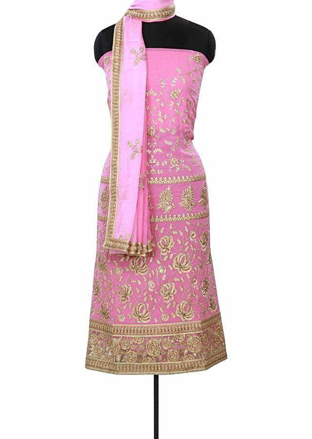 Pink unstitched suit enhanced in resham and sequin embroidery only on Kalki