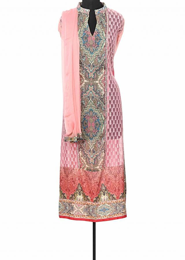 Pink unstitched suit enhanced in resham and thread embroidery only on Kalki