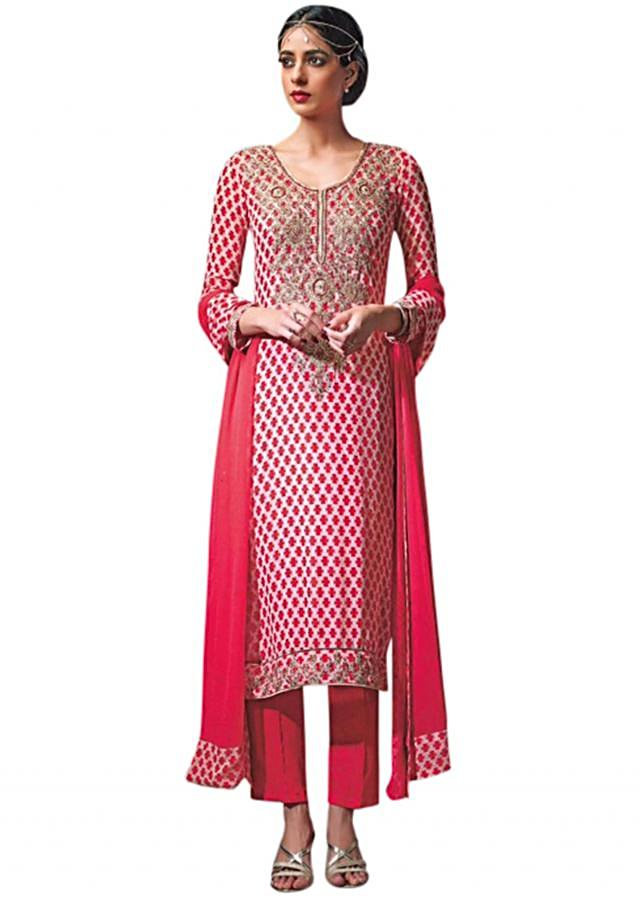 Pink unstitched suit enhanced in sequin embroidery