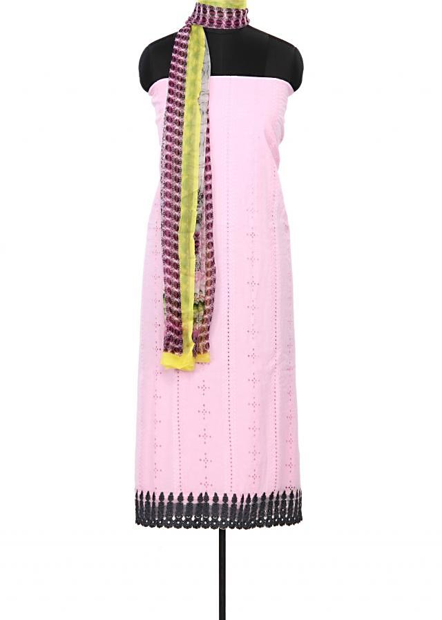 Pink unstitched suit enhanced in thread embroidery only on Kalki
