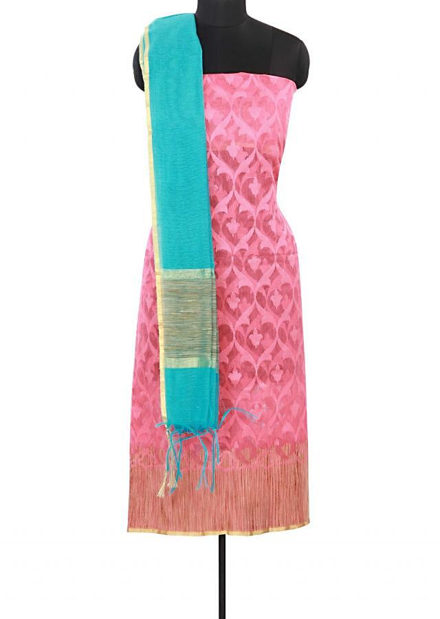 Pink unstitched suit enhanced in weave embroidery only on Kalki