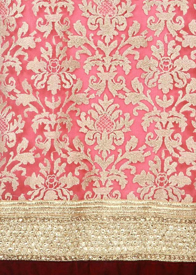 Pink unstitched suit featuring in embellished net only on Kalki